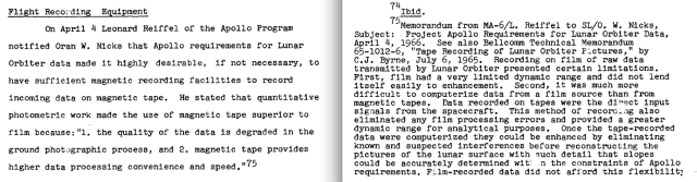 Figure 6: NASA Memo Regarding Superiority of Mag Tape Lunar Images