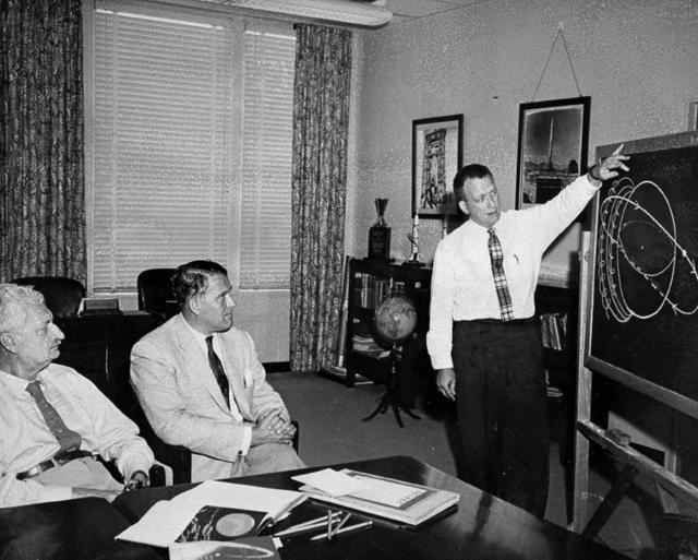Feburary 1958 Dr. Charles Lundquist Briefs Von Braun and Herman Oberth on Explorer 1 Attitude Anomaly
