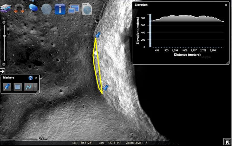 Figure 2: Area of the Whipple Development Near the Lunar North Pole
